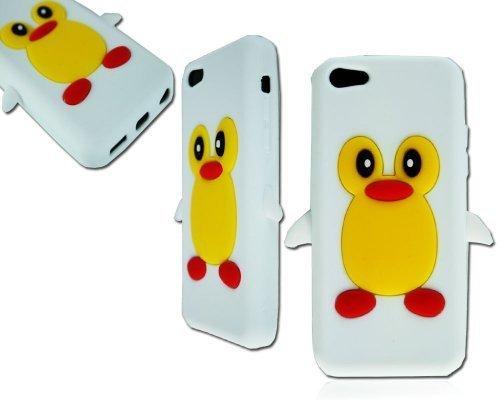 neuen, stilvollen weiß Pinguin Silikon Weiche Rückseite Schutzhülle für Apple I Phone 5C