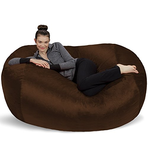 Sofa Sack - Plush Bean Bag Sofas with Super Soft Microsuede Cover - XL Memory Foam Stuffed Lounger Chairs for Kids, Adults, Couples - Jumbo Bean Bag Chair Furniture - Chocolate 6' ()