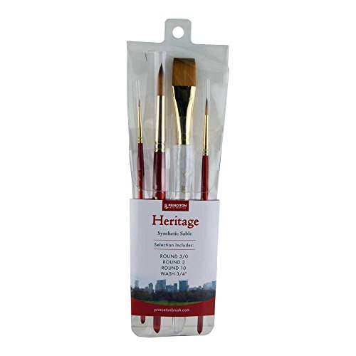 Princeton Heritage, Golden Taklon Brushes for Warercolor & Acrylic, Series 4050 Synthetic Sable, Professional Set - Brush Synthetic Sable Wash