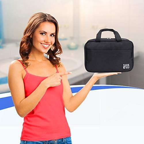 Makeup Bottles Large Waterproof Bathroom Bag Holds Toiletries Travel Accessories Premium Hanging Toiletry Travel Bag Black Free Luggage Tag by SHIK Bags Portable Organizer for Men /& Women