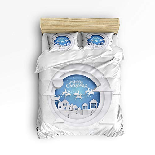 Anzona 3 Piece Bedding Set Queen Size, Santa on Sleigh Over a Romantic House 3 pcs Duvet Cover Set Bedspread Daybed Childrens/Kids/Teens/Adults