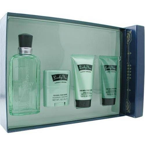 Lucky You By Liz Claiborne For Men. Set-cologne Spray 3.4 oz & Hair & Body Wash 2.5 oz & Skin Soother 2.5 oz & Deodorant Stick .7 oz