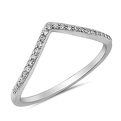 Chevron Pointed Tiara Clear CZ Thumb Ring .925 Sterling Silver Band Size 7 (RNG16196-7) (Chevron Cz Ring)