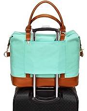 Dames canvas weekendtas weekendtas handbagage schoudertas plunjezak in trolley handvat