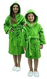 Kids Terry Cloth Robe TowelRobes 100% Cotton Kid\'s Hooded Bathrobe for Girl and Boy (Apple Green, S/M)