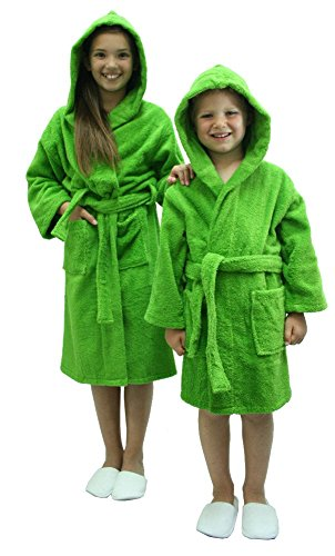 Kids Terry Cloth Robe 100% Cotton Hooded Bathrobe for Girl and Boy (AGreen, L)