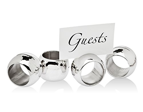 Godinger Silver Art 2-in-1 Hammered Stainless Steel Napkin Ring & Place Card Holder (Place Holder Card Ring Napkin)