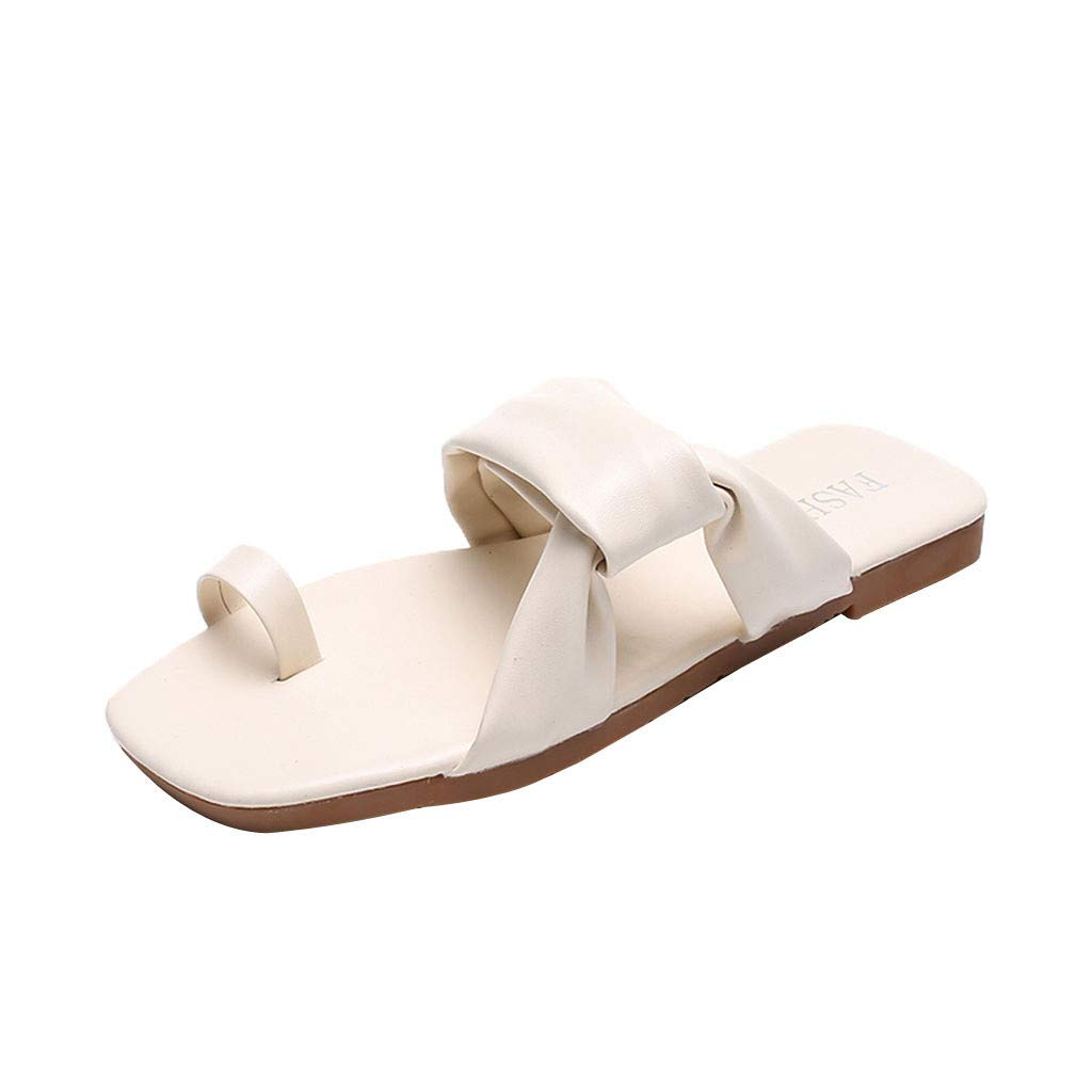 2019 Women's Summer Fashion Slippers Fashion Solid Open-Toe Sandals Comfort Flat Beach Casual Beach Clip-Toe Shoes (Beige, Size:37=US:6)