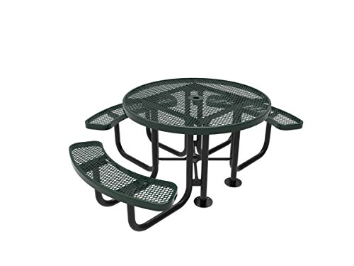 Coated Outdoor Furniture TRD3-GRN Top Round Portable Picnic Table, 46-inch, Green