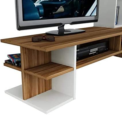 White//Walnut TV Lowboard with Shelves for living room HOMIDEA DUO Wall Unit TV Stand