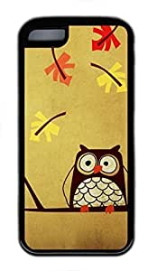 Custom Soft Black TPU Protective Case Cover for iPhone 5C,Cute Owl Case Shell for iPhone 5C