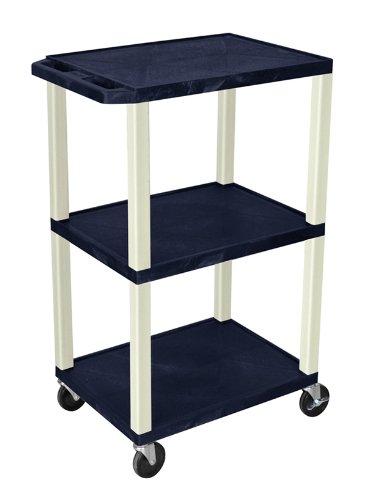 H WILSON WT42ZE Portable Multimedia Tuffy AV Cart with Putty Legs, 3 Shelves, 42