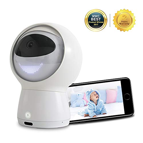 Hubble Hugo Video Baby Monitor, 1080P Smart Baby Monitor With Amazon Alexa , Baby Monitor with Camera and Audio, Two-Way Audio, Lullaby, Night Vision, Remote Viewing Pan Tilt AI Robot