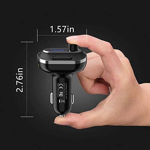 Hanbaili Transmetteur FM Adaptateur FM Adaptateur Radio sans Fil Intelligent Récepteur Bluetooth MP3 Détecteur de Tension de Musique Portable