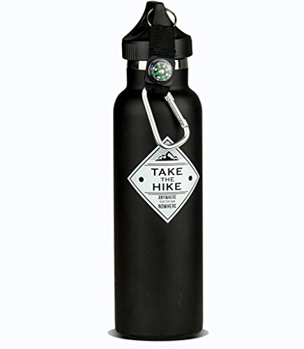 Take the Hike Vacuum Sealed Stainless Steel Water Bottle: Double Wall Insulated Drinking Bottle, 20 oz With Standard Mouth Loop Cap, BPA Free, Leakproof, Reusable For Hiking, Camping, Backpacking