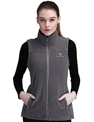CAMEL CROWN Fleece Vest Men Women Full-Zip Sleeveless Jacket Plus Size with Pocket Lightweight Casual Gilet(Dark Grey,Medium) ()