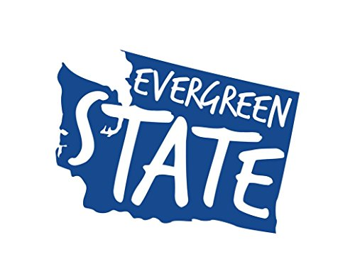 ND451B Washington The Evergreen State Decal Sticker | 5.5-Inches By 4.1-Inches | Premium Quality Blue Vinyl