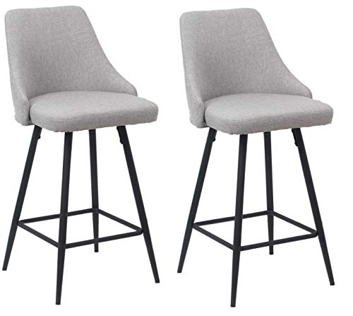 """BTEXPERT Premium upholstered Dining 25"""" High Back Stool Bar Chairs, Set of 2 Pack Gray Polyester"""