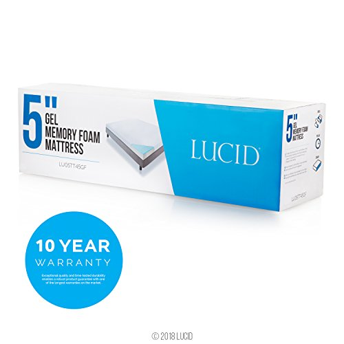 LUCID 5 Inch Gel Memory Foam Mattress - Dual-Layered - CertiPUR-US Certified - Firm Feel - King Size