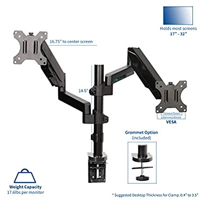 VIVO Dual Monitor Arms Fully Adjustable Desk Mount/Articulating Stand for 2 LCD LED Screens
