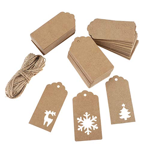 Christmas Gift Tags,Kraft Paper Tags,Christmas Tree Snowflake Reindeer Tags 150 Pcs with 30 Meters Natural Jute Twine (Star Paper Tree Homemade Christmas)
