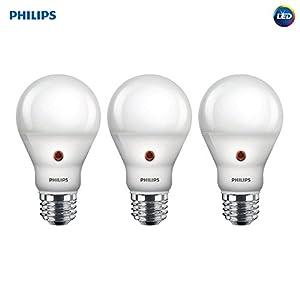 Philips LED Dusk-to-Dawn A19 Frosted Light Bulb: 800-Lumen, 2700-Kelvin, 8-Watt (60-Watt Equivalent), E26 Base, Soft White, 3-Pack