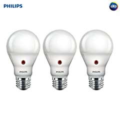 Philips Dusk to Dawn A19 LED light bulbs are equipped with a built in light sensor that turns the lights on automatically when the sun goes down and turns the light off when the sun rises. Suitable for indoor or outdoor use, these bulbs have ...