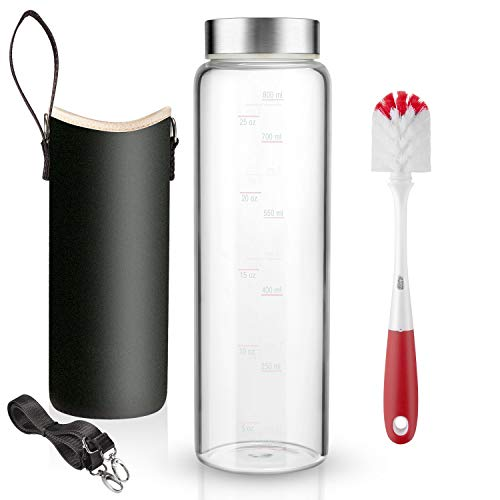32 oz Glass Water Bottle with Nylon Bottle Protection Sleeves and Stainless Steel Lid 1L Time Marked Measurements for to-Go Travel at Home Reusable Eco Friendly Safe for Hot Liquids Tea Coffee Daily