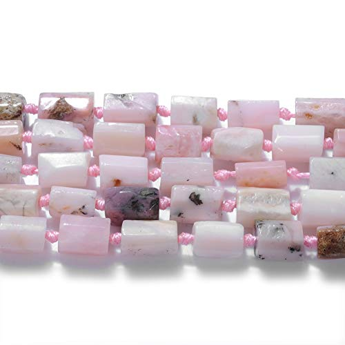 FANGQUN Pink Opal Beads Cylinder Semi-Precious Gemstone Beads for Jewelry Making Loose Tube Beads