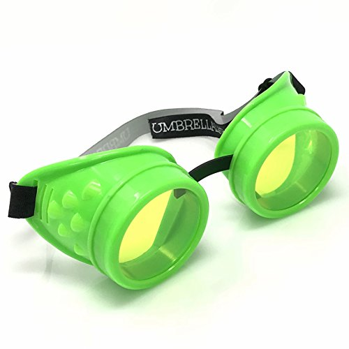 UV Glow in the Dark Steampunk Rave Retro Round Goggles Neon -