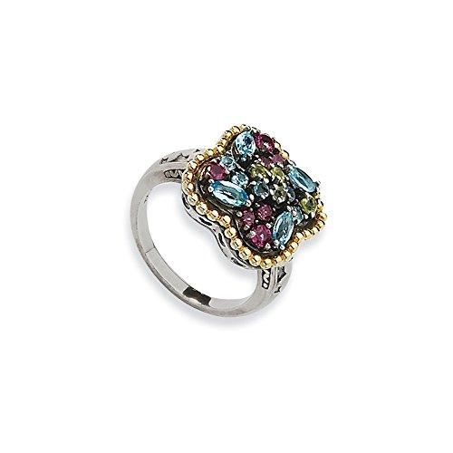 Tw Multi Gemstone Ring (Perfect Jewelry Gift Sterling Silver w/14k 1.59tw Multi Gemstone Ring)