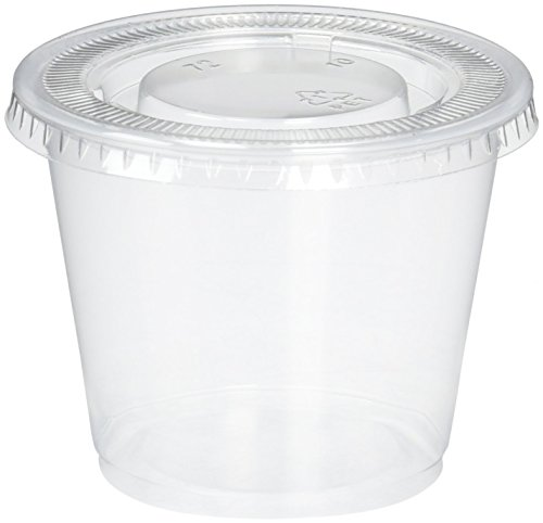 5.5 Oz Cups, Durable Plastic Clear Cups with Lids 100/pkg
