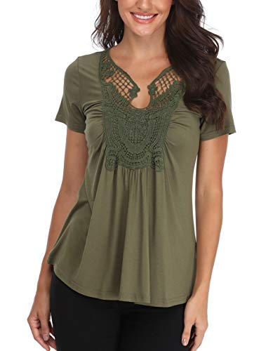 MISS MOLY Peplum Tops for Women Sexy V Neck Peasant Blouses Short Sleeve Ruched Front T Shirts Army Green-XSmall