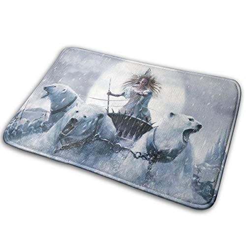 Bear Riding Polar (Winter Women Riding Polar Bears Mad Angry Face Throw Area Ground Mat Accent Floor Party Outside Set Restroom Kitchen Bathroom Door Welcome Decor Entryway Rug Sign Celebrate Decorations Ornament)