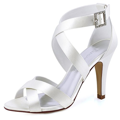 ElegantPark HP1705 Women High Heel Shoes Open Toe Cross Strap Satin Bridal Wedding Sandals Ivory US 8 by ElegantPark