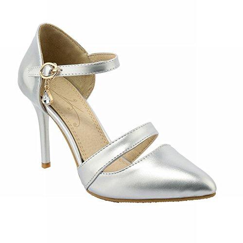 plateados plateados Shine para tacón de de Show elegante de mujer aguja con con tacón Zapatos tacón aguja Hzaqnx