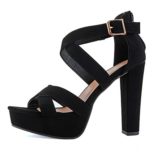 Guilty Shoes Women's Platform Ankle Strap High Heel - Open Toe Sandal Pump - Formal Party Chunky Dress Heel Sandals (6 M US, Black Pu)