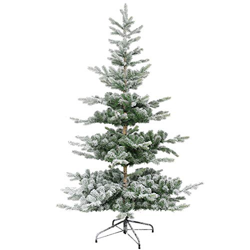 (XIAOMEI Flame Retardant Christmas Tree PVC On 5.9 ft Hinged Artificial Christmas Tree Metal Legs Flocked Snow-Green 180cm(71inch))