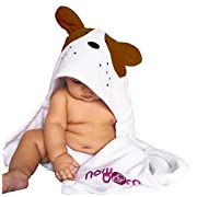 Baby Hooded Bath Towel – Cute Brown Puppy Dog Animal Design – Organic Cotton Material
