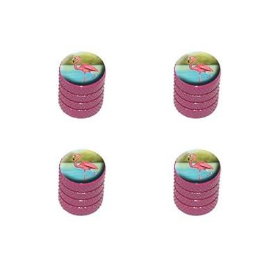 Graphics and More Flamingo Tire Rim Wheel Aluminum Valve Stem Caps - Pink Color: Automotive