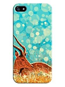 Sangu Fantasy Deer Prairie Hard Back Shell Case / Cover for Iphone 5 and 5s - Bright Turquoise