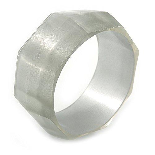 Avalaya Off White Multifaceted Acrylic Bangle Bracelet - (Medium) - up to 19cm L