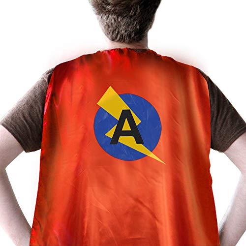 Mens Superhero Cape for Adults, Women Superhero Cape,Cape Mask Set for Adult Party Custume Supply, Adult Initial Cape with Letter A -