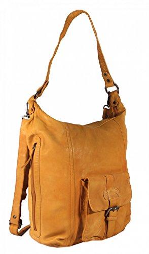 Corverio - große Umhängetasche Schultertasche Ledertasche HochFormat Washed Leder CROSSOVER BAG Damen Handtaschen 35x36x9 cm (B x H x T), Farbe:schwarz Camel