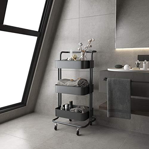 Titoni Handle Rolling Utility Cart Mobile Storage Organizer Multifunctional Metal Storage Trolley Mesh Basket Storage Carts Black