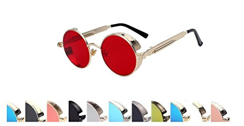 Steampunk Fashion Sunglasses NYC (D Red Gold, Multicolored) (Steampunk Fashion Male)