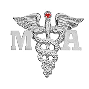 NursingPin Medical Assistant MA Ruby Lapel Pin in Silver Gifts and Jewelry