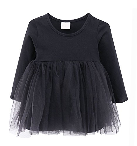 Guandiif Baby Girls Dresses Lace Long Sleeves Tulle Tutu Princess Dress Cute Toddler Dress For Kid Girls 3-4 Years Black