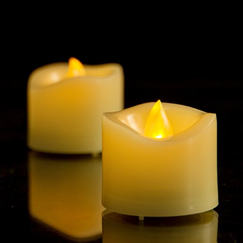 Candle Lite Votive Candle - AMAGIC Flameless Battery Operated Tea Lights with Timer - 500+ Hr. Ultra Long Lasting Battery Life Electric Tealight, Small Timing LED Candle in Amber Yellow - Dia1.5, Melted Edge, Pack of 12