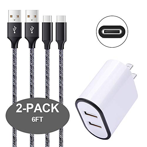 Wall Charger Adapter,Type C Charger Cable,Disoper Phone Charging Block 2Pcs 6FT Nylon Braided USB C Cable Compatible Samsung Galaxy S9/S8/Note 8,LG G7 G6 V30 V20, HTC 10, Nexus 6P 5X,Google Pixel by Disoper